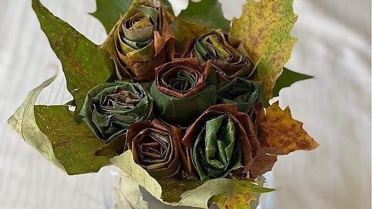 Nápaditá jesenná dekorácia, ruže z...